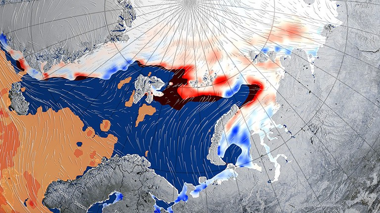Visualisation of a cyclone which shrank and diminished sea ice in the Barents Sea in the winter of 2015–2016 (NASA Goddard's Scientific Visualization Studio/Alex Kekesi).