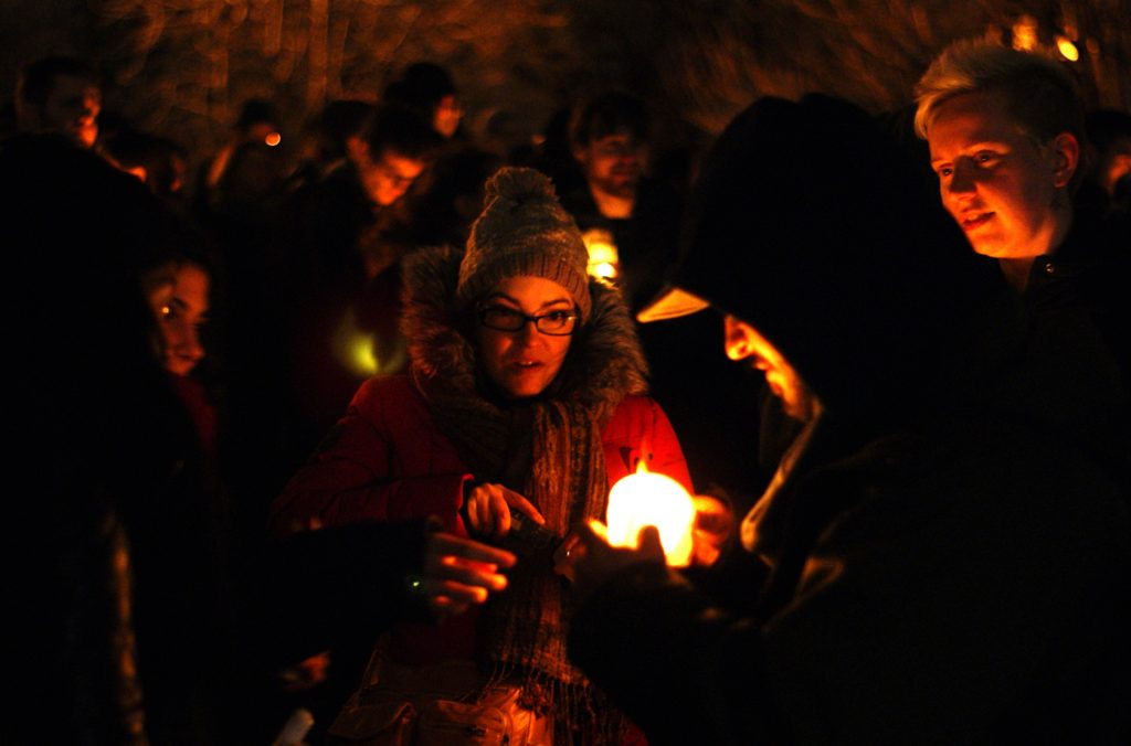 Lighting the candle at a Ferguson rally. Gerry Lauzon / Flickr.