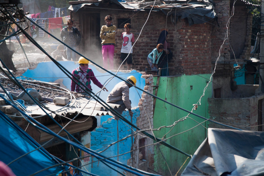 Houses torn apart with sledgehammer in the Kathputli colony.