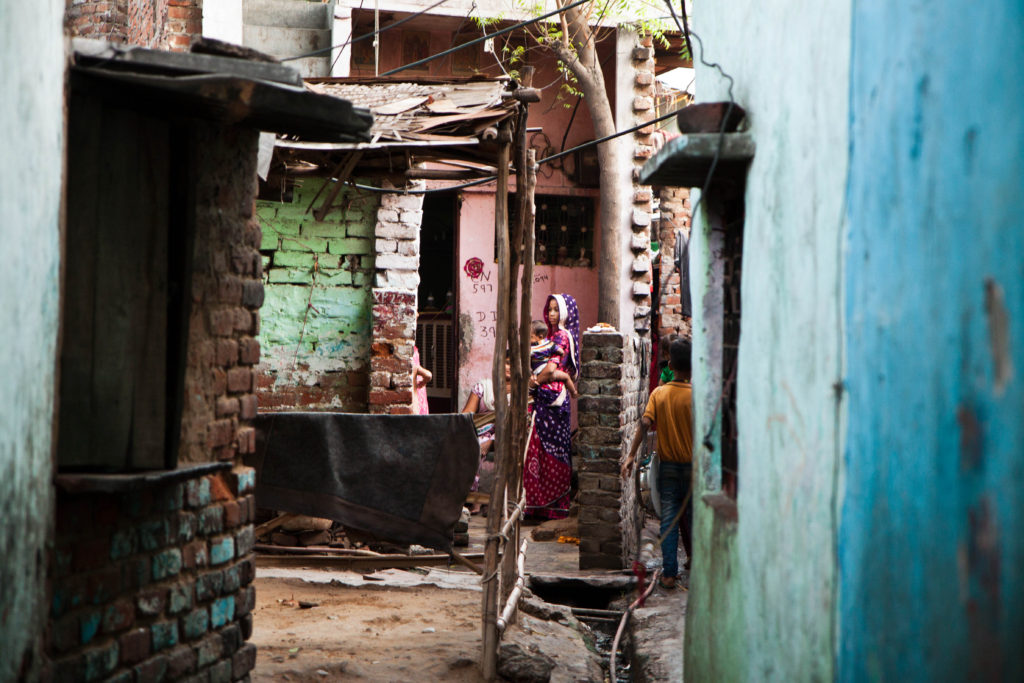 Narrow streets inside Kathputli colony.